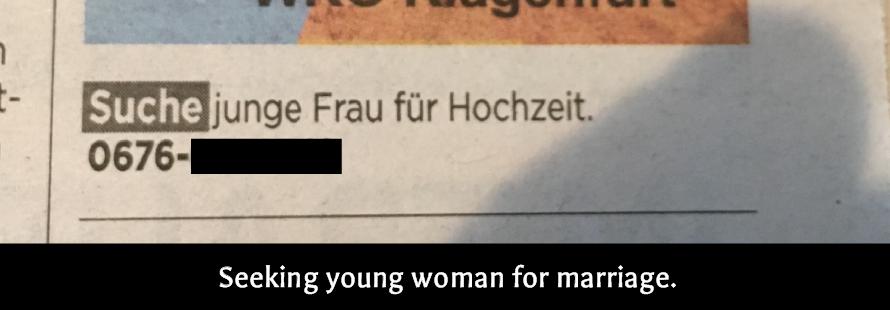 Newspaper - Suche Frau article