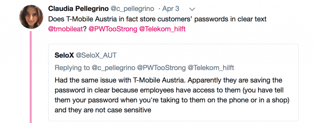 T-Mobile Twitter Plaintext Passwords